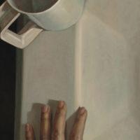 葉子奇,對話:妻子之手,1989,卵彩‧油畫/亞麻布,107 x 46 cm