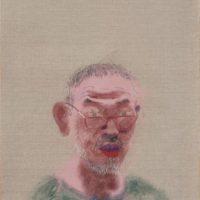 王玉平,自畫像-3,2016,油畫棒、畫布,108 x 53 cm