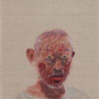 王玉平,自畫像-4,2016,油畫棒/畫布,108 x 53 cm
