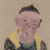 王玉平,自畫像-8,2017,油畫棒/畫布,81 x 53 cm