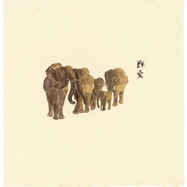 劉小東,向南飛 #03,2014,壓克力顏料 / 宣紙,50 × 50 cm