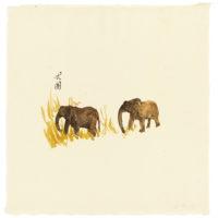 劉小東,向南飛 #04,2014,壓克力顏料 / 宣紙,50 × 50 cm