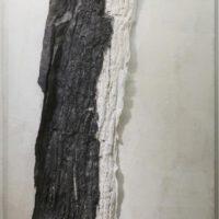 林延,落葉,2009,墨、宣紙、有機玻璃,184.5 × 108 × 11 cm
