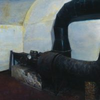 陸亮,地洞 - 排風機,2010-2011,油彩/畫布,60 x 90 cm