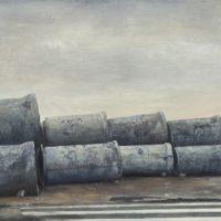 陸亮,水泥管道,2012-2013,油彩/畫布,60 x 90 cm