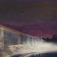 陸亮,夜路 - 隔牆,2013,油彩/畫布,110 x 170 cm