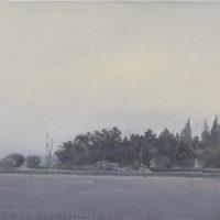 陸亮,灰島,2008-2013,油彩/畫布,28 x 200 cm
