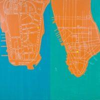 刁德謙,九龍與曼哈頓,2014,壓克力顏料、油性筆 / 畫布,152.5 x 162.5 cm