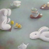 黃本蕊,餐桌上的枯山水,2014, 壓克力顏料/畫布,76 x 102 cm
