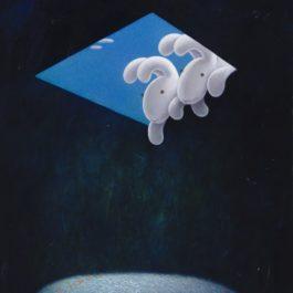 黃本蕊,編織中,2014,壓克力顏料/畫布,76 x 61 cm