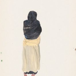 劉小東,記憶樹紙上作品 no.14,2014,壓克力顏料/紙,27 x 20 cm