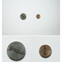 倪有魚,西湖十景-蘇堤春曉,2013,金屬表面綜合材料繪畫,含框尺寸:23x23cm 單枚硬幣:2-3cm
