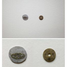 倪有魚,西湖十景-三潭印月,2013,金屬表面綜合材料繪畫,含框尺寸:23x23cm 單枚硬幣:2-3cm