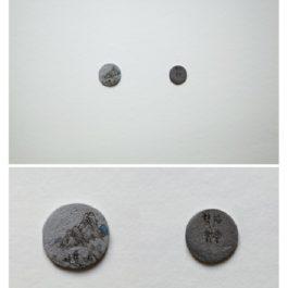 倪有魚,西湖十景-雙峰插雲,2013,金屬表面綜合材料繪畫,含框尺寸:23x23cm 單枚硬幣:2-3cm