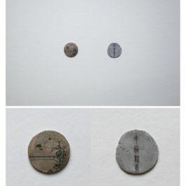 倪有魚,西湖十景-花港觀魚,2013,金屬表面綜合材料繪畫,含框尺寸:23x23cm 單枚硬幣:2-3cm