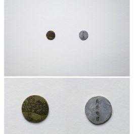 倪有魚,西湖十景-南屏晚鐘,2013,金屬表面綜合材料繪畫,含框尺寸:23x23cm 單枚硬幣:2-3cm