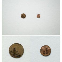 倪有魚,西湖十景-雷峰夕照,2013,金屬表面綜合材料繪畫,含框尺寸:23x23cm 單枚硬幣:2-3cm