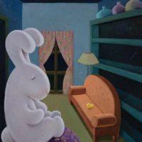 黃本蕊,守門巨兔,2013,壓克力顏料/畫布,61 x 51 cm