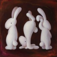 黃本蕊,無聊三姿,2013,壓克力顏料/畫布,91.5 x 91.5 cm