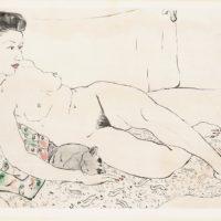 潘玉良,裸女與貓,1940s,版畫,30 x 47 cm