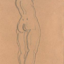 常玉,裸女素描 (2),素描/紙,49 x 29 cm