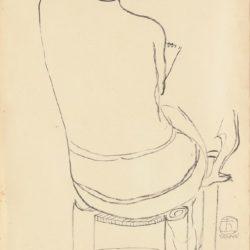 常玉,裸女素描 (6),素描/紙,45 x 28 cm