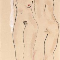 常玉,雙裸女,1920/30s,水墨、水彩/紙本,47 x 29 cm