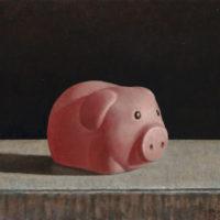 葉子奇,粉紅小豬,1997-2013,卵彩‧油畫/亞麻布,25.4 x 30.5 cm