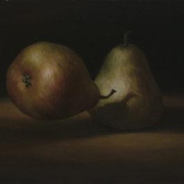 葉子奇,雙梨,1988,卵彩‧油畫/亞麻布,35.6 x 45.7 cm
