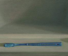 葉子奇,對話:雙手之間,1989,卵彩‧油畫/亞麻布,35.5 x 106.7 cm