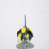 王玉平,蠟臺,2007,壓克力顏料、油畫棒/畫布,150 × 120 cm