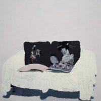 王玉平,浮世繪的靠墊,2009,壓克力顏料、油畫棒/畫布,200 × 220 cm