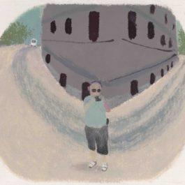 王玉平,凸鏡,2011,壓克力顏料、油畫棒/紙,58 x 72.5 cm