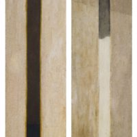 蘇旺伸,梁祝,1982,綜合媒材/合板,136 x 45.7 cm/each, Set of 2