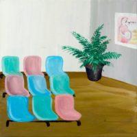 黃海欣,等待室,2012,油彩/畫布,41 x 41 cm