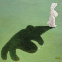 黃本蕊,當你的影子成了負擔,2010,壓克力顏料/畫布,61 x 61 cm