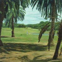 連建興,閒情散步,2001,油彩/畫布,65 × 91 cm