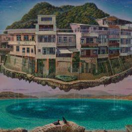 連建興,石碇之鄉愁飄泊,2011,油彩/畫布,97 × 194 cm