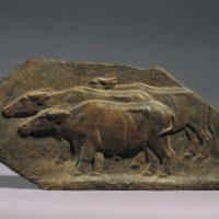陳夏雨,三牛浮雕,1950,樹脂,25 x 58 x 8 cm