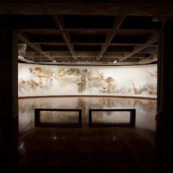 蔡國強,晝夜,2009,火藥、紙,300 x 3200 cm