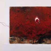 司徒強,神曲,2001-2003,壓克力顏料, 電線, 燈泡, 布/ 畫布,124.5 x 184.5 cm