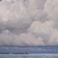 葉子奇,藍色的花蓮港,2007-2009,卵彩‧油畫/亞麻布,86.4 x 127 cm