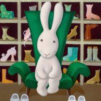 黃本蕊,花了我兩小時挑一雙新鞋,你看我挑了什麼,真是舊習難改,2010,壓克力顏料/畫布,61 x 50.8 cm