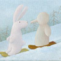 黃本蕊,你在雪道上遇到的什麼人,2008,壓克力顏料/畫布,40.6 x 50.8 cm