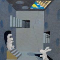 黃本蕊,我從黑暗中來,要想擁抱藍天,2009,壓克力顏料/畫布,61 x 50.8 cm