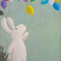 黃本蕊,氣球要飛,讓氣球飛吧!,2009,壓克力顏料/畫布,50.8 x 40.6 cm