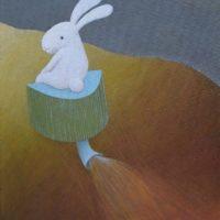 黃本蕊,在夢中我被一件雕塑給綁架了,2009,壓克力顏料/畫布,51 x 40.5 cm