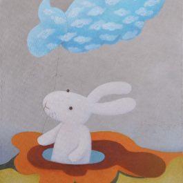 黃本蕊,陰天裡捕捉到的一群快活雲,2009,壓克力顏料/畫布,51 x 40.5 cm