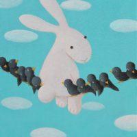 黃本蕊,鳥兒們從籠中出來,邀請我過去新家作客,2009,壓克力顏料/畫布,51 x 40.5 cm