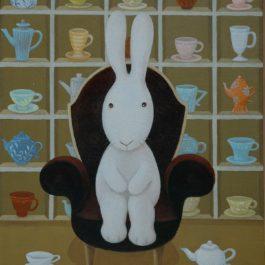 黃本蕊,花了我兩小時挑選茶具,午茶時間卻結束了,2009,壓克力顏料/畫布,51 x 40.5 cm